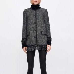 Zara tweed jacket with metallic thread